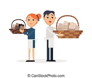 Truffles sellers with mushrooms in wicker baskets. Smiling...
