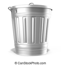 metallic steel trash can on white background 3D illustration