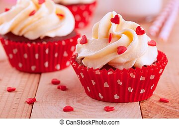 homemade valentine cupcakes with red sugar hearts