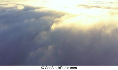 flight over mist early at morning - flight above mist early...