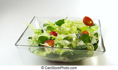 preparing fresh ceasar salad - preparing fresh and tasty...