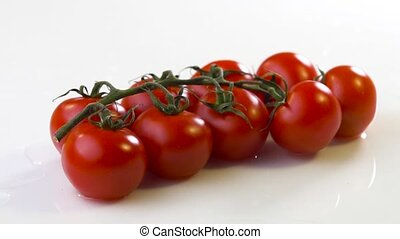 fresh tomato with water on white surface - fresh tomato with...