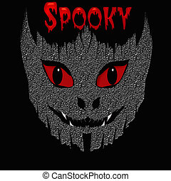 spooky monster - spooky red eyes and white teeth black...