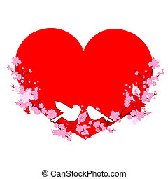 red heart, on a white
