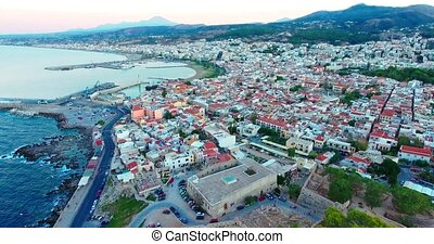 evening flight over Rethymno city at Crete island