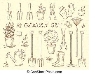 garden tools set - vintage sketch set of hand drawn...