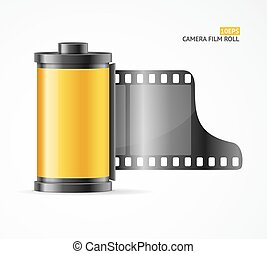 Camera Film Roll Cartrige. Vector - Realistic Yellow Camera...