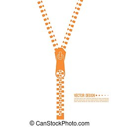 Set of zip. - Vector icon closed and open zipper, fastener....