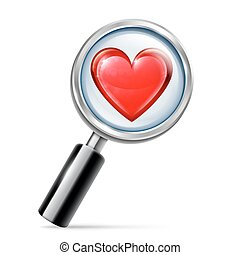 Magnifying Glass and Heart
