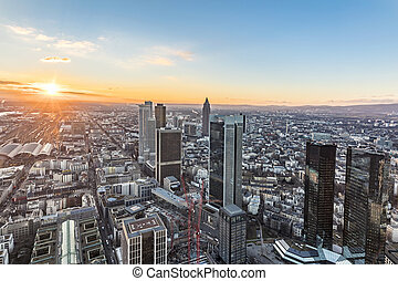 Skyline of Frankfurt in sunset with view to Taunus mountains