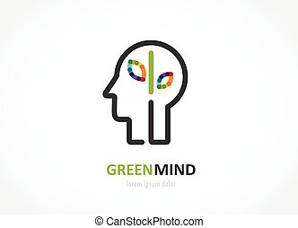 green mind- abstract colorful icon of human head, brain symbol