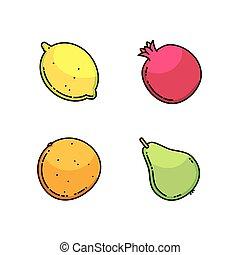 Lemon, pear, mandarin and garnet set isolated on white -...