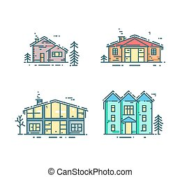 Colorful line houses icon set.