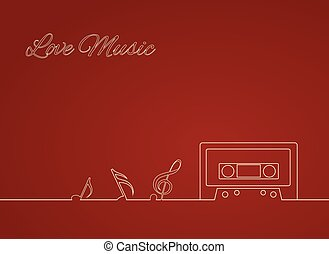 Contour Vector illustration of an old cassette and musical...