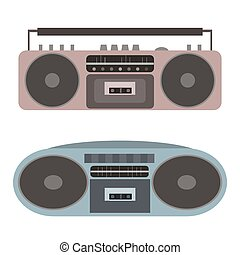 Vector set of flat cassette recorders. Vector element for your creativity