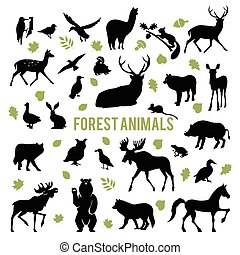 Silhouettes of the forest animals. - Collection of...