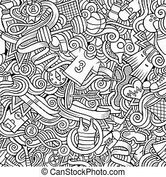 Cartoon cute doodles hand drawn Sport seamless pattern....
