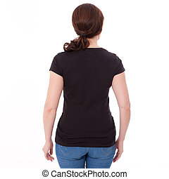 Shirt design and people concept - close up of woman in blank black t-shirt rear isolated. Clean empty mock up template for design.