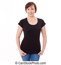 Shirt design and people concept - close up of woman in blank black t-shirt front isolated. Clean empty mock up template for design.