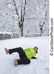 Woman slipped on a snow and ice - Risk of accidents in...