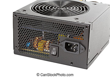 the power supply for the computer isolated on white background