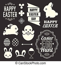 Easter design elements include headline, ribbon, rabbit,...