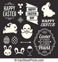 Easter design elements include headline, ribbon, rabbit,...