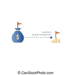 Distant future financial target, budget plan icon, yield money profit