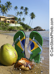 Brazilian Flipflop on the beach in Ilhabela, Sao Paulo...