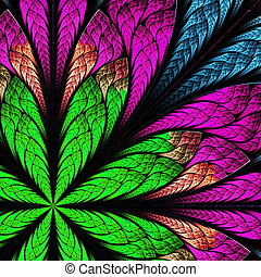 Beautiful fractal flower in stained-glass window style