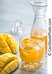 Mango juice on the wooden table