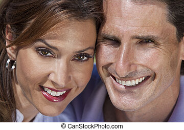 Successful Happy Middle Aged Man and Woman Couple Portrait -...