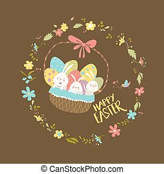 Easter bunnies sitting in a basket with eggs. Vector...