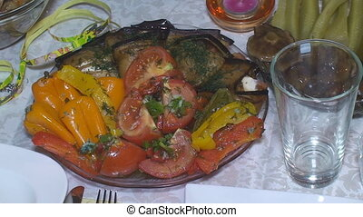 Dish with fresh vegetables on colored plate - Delicious food...