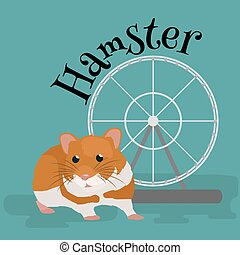 Domestic animal hamster, isolated vector illustration...