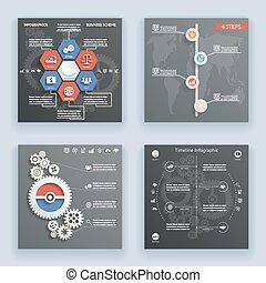 Infographics Elements Symbols and Icons World Map Timeline...