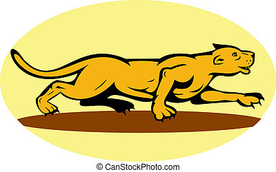 puma or mountain lion prowling - illustration of a puma or...