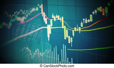 stock chart concept with graph and price
