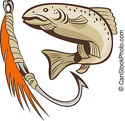 trout fish fishing hook lure bait - illustration of a trout...