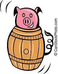 pig pork stuck in barrel - cartoon illustration of a pig...