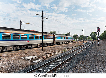 Express diesel railcar. - Express diesel railcar is leaving...