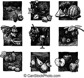 set of berries and fruits - Vector ink hand drawn set of...