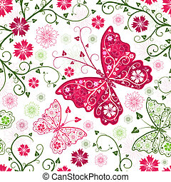 Seamless floral white pattern with flowers and butterflies...