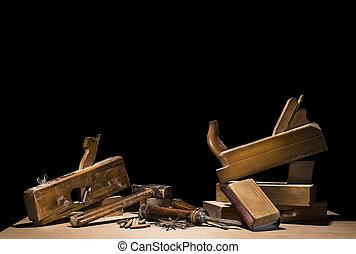 木制, 工具, 黑色, 被隔离, 背景