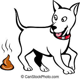 dog with poo isolated on white - illustration of a dog with...