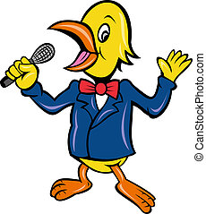 bird singing karaoke - cartoon illustration of a bird...