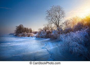 beautiful winter background; winter landscape On A Hoar Frost