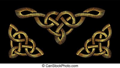 Gold embroidery on a black background. Celtic patterns
