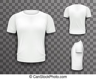 T-shirt Front Side Back View Template Realistic 3d Design Icon Transparent Background Isolated Vector illustration