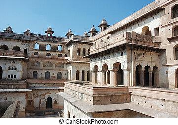 Inside the Raj Mahal palace at Orcha ,India,Madhya Pradesh,...